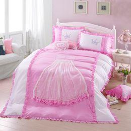 Yellow White Bedding Sets Australia - 4Pcs Beand King Queen Size Princess Bedding sets Girls Gift Pink White Duvet cover Bed Linen Pillowcase Wholesale