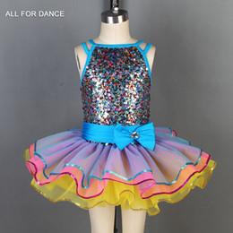Ballet Tutu Dancewear Australia - Mixed color sequin Bodice with color tulle Ballet tutu kids ballet costumes dance tutu Performance dancewear
