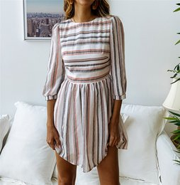0e3339e5396 tunic t shirt dresses 2019 - DHL Women 3 4 Sleeve Striped Summer Dresses  Elastic Waist