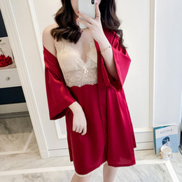 Silk Red Dress For Women Australia - silk robes for women sexy robe gown sets bathrobe and night dress 2 pieces lace sleepwear sets summer