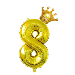 Foil crowns online shopping - 2pcs Number Digit Aluminum Foil Crown Mylar inch Balloons for Wedding Anniversary Decoration Birthday