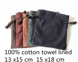Tea Jewelry Australia - Thicken Large Plain Cloth Drawstring Bags Men Women Cotton Jewelry Pouches Portable Small Cup Tea caddy Travel Pouch Storage