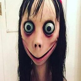 Discount momo wholesale - Halloween Momo Mask Halloween Party Scary Prank Fright Mask With Wig Hair Halloween props Safe Emulsion Fabric