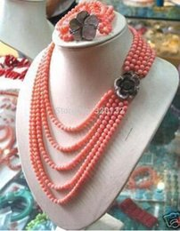 $enCountryForm.capitalKeyWord Australia - Beautiful gift Natural 6-7mm PINK CORAL BEAD NECKLACE BRACELET SET Optional Set Silver Hook wholesale necklaces Fast shipping