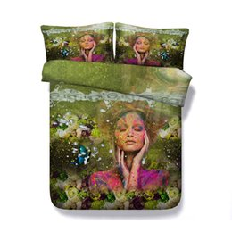 China Green Rose Bedspreads Floral Duvet Cover Set 3 Piece Bedding Set With 2 Pillow Shams Multicolor Butterfly Coverlet Makeup Bed Set Girls cheap roses butterflies suppliers