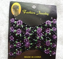 $enCountryForm.capitalKeyWord Australia - Vintage Jewelled Beaded Elastic Stretch Rose Flower Bow Glass Bead Cuff Double Insert Clips Headwear Magic Hair Comb