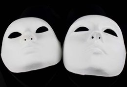 Blank Face Masks Wholesale NZ - Mache Blank Mask Female New Hand-painted Pulp Plaster Covered Paper Male Mask with Elastic 20pcs Lot
