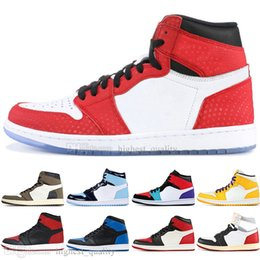 Discount rhinestone high top sneakers - Sale 1 High OG Travis Scotts Cactus Jack UNC Spiderman Mens Basketball shoes 1s Top 3 Banned Bred Toe Chicago Men Sports