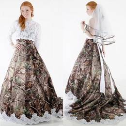 strapless sleeve lace wedding dresses Australia - New Country Style Strapless Aplliqued Camo Wedding Dresses with Long Sleeves Lace Top Corset Back Country Bridal Gown with Lace Trim