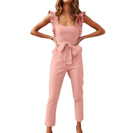 Wholesale lace womens jumpsuits chiffon resale online – Rompers womens jumpsuit lace long pants Women Linen Shirred Frill Sleeves Pockets Jumpsuit Ladies Belted Summer Holiday D300503