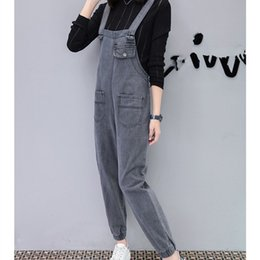 Harem Jumpsuits Women Australia - 2019 Spring High Waist Denim Jumpsuits Women Vintage Pockets Solid Loose Harem Jumpsuit Long Rompers Casual Overalls