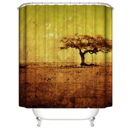 shower curtain trees NZ - Yellow Sand Ancient Yellow withered Dead Trees 3D Digital Printing Printed Waterproof Bathroom Window Shower Curtains With Rings Hooks