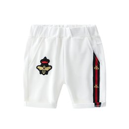 Chinese  kids shorts 2019 INS NEW Fashion kids summer new styles sports styles high quality cotton Leisure style kids cartoon embroidery bee shorts manufacturers