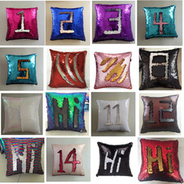 sequin cushions covers NZ - Mermaid Sequins Cushion Cover Magical Colorful Throw Pillow Case Color Changing Reversible Home Decor Sofa Cushions Cover 40x40cm DH0420