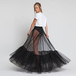 $enCountryForm.capitalKeyWord Australia - Sheer One Layer Black Maxi Skirt See Through Women Black Long Tulle Skirt With Unique Ruched Edge 2018 New Design No Lining Y19060301