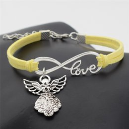 Guardian Angel Chain NZ - Europe Yellow Leather Suede Bracelet Simple All-Match Infinity Love Guardian Angel Pendant Charm Bangles For Women Men 2019 New Hand Jewelry