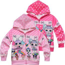 Wholesale christmas hoody online – oversize new Cartoon Doll Girls Hoodies Autumn Spring Kids Long Sleeve Sweatshirts Children hooded Hooded zipper Top Clothing Hoody Christmas outfits