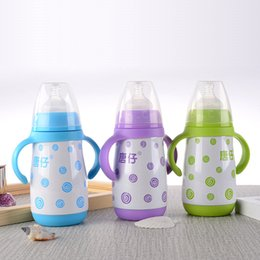 infant cup feeding Australia - 280ML Stainless Steel Baby Feeding Bottle Infant Milk Bottle Nursing Feeding Bottle Baby Water Cup with handle
