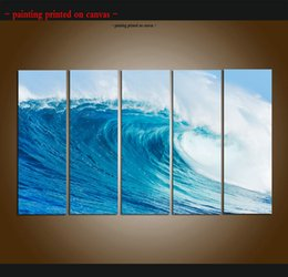 $enCountryForm.capitalKeyWord Australia - Large 5 Panel Modern Beach Canvas Print Surf Ocean Wave Seascape Painting Art Wall Home Decor Picture Contemporary For Living Room ASet045