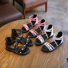 Girl Shoes For Women Australia - Children Shoes Woman Summer Girl Fashion Joker Non-slip Child Pearl Rome Shoe Princess Kids Sandals For Girls