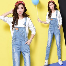 light wash overalls 2019 - EXOTAO Ripped Jeans for Women Solid Denim Jumpsuit Sleeveless Female High Waist Overalls Harajuku Denim Pantalon Femme c
