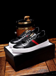 Design Genuine Leather NZ - Fashion New Mens Loafers Shoe Design With Bee Genuine Leather Party Lace Up Lowtop Dress Sports Sneakers Shoes Size 38-44