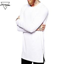 $enCountryForm.capitalKeyWord Australia - Aelfric Eden Street Wear Fashion Men Casual T Shirt Long Sleeve Oversize T -Shirt Man Curve Hem Side Zip Hip Hop Cotton Top Tees