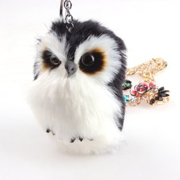 rabbit toys women NZ - Cute Fluffy owl rabbit fur Ball Keychains animal doll Bag charm Toy Key Chain Car Keyring keychain for Women Jewelry