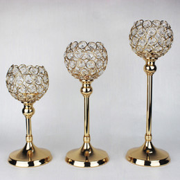 Crystal Table Decor Australia - 10 sets lot gold silver beaded votive candle holder wedding crystal table decor gold wedding supplies candelabra centerpieces for event