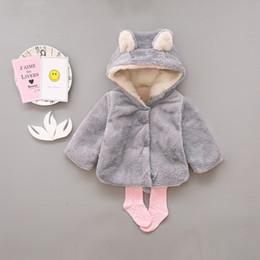 Girls Cotton Poncho Wholesale Australia - Baby Girls Coat Winter Warm Bear Style Coat Cloak Jacket Thick Warm Clothes Baby Girl Cute Hooded Coats