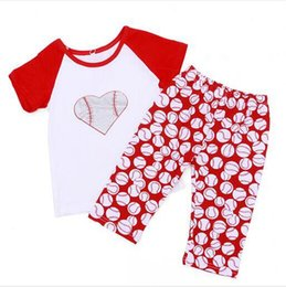 Clothes themes online shopping - kids Baseball Clothing Sets Heart Shaped baseball bronzed with raglan sleeves Shirt pants Baby Sport theme Vest Tanks GGA1866