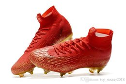 Gold Superfly Boots NZ - Red Gold Soccer Cleats Steel Spike Mercurial Superfly VI Elite CR7 SG Original Mens Soccer Shoes Cristiano Ronaldo Football Boots