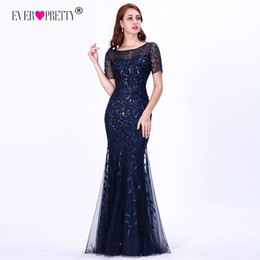 Empire Lace Applique Dress Australia - Formal Evening Dresses 2019 Ever Pretty New Mermaid O Neck Short Sleeve Lace Appliques Tulle Long Party Gowns Robe Soiree Sexy Y19051401