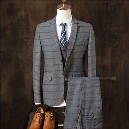 $enCountryForm.capitalKeyWord NZ - High-end mens striped suit gray navy blue slim fit men's wedding dress suits men Blazers with vest and pants size S M L XL 2XL 3XL