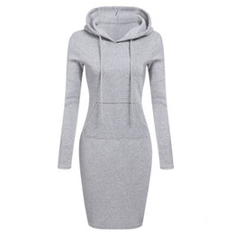 Discount designer dresses cap design - Warm Spring Sweater Long-sleeved Dress 2019 Woman Clothing Hooded Collar Pocket Design Simple Woman Dress Z30 designer c