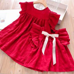 $enCountryForm.capitalKeyWord NZ - Mother and daughter matching outfits girls round collar falbala fly sleeve dress shirt kids back ribbon lace-up Bows princess dress F5687