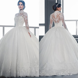 $enCountryForm.capitalKeyWord Canada - Sheer Long Sleeves Lace Ball Gown Wedding Dresses 2019 Vintage Applique Lace Tulle Bridal Gowns Vestidos De Noiva Custom Made