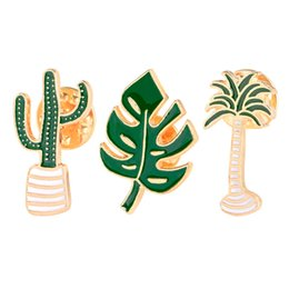 emerald clothing Australia - Lovely Badge Plant Potted Collar Shoe Lips Enamel Brooch Coconut Tree Cactus Leaves Decorative Clothing Cartoon Pins Badge