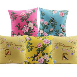 $enCountryForm.capitalKeyWord UK - Birds And Flowers Cushion Covers Chinese Style Floral Peony Blossom Tree Bird Cage Cushion Cover Sofa Velvet Pillow Case Two Sided Print