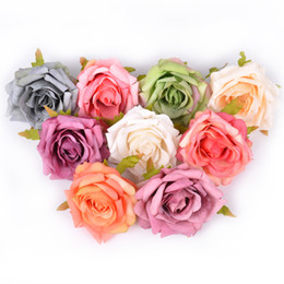 diy handmade crafts NZ - 2Pcs lot 7cm Silk Rose Artificial Flowers for Wedding Home Party Decoration DIY Craft Wreath Gifts Handmade Fake Flower Supplies