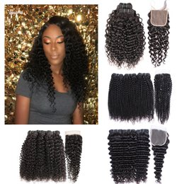 Afro bundles closure online shopping - Kiss Hair Bundles with Lace Closure Raw Indian Hair Deep Wave Natural Color Water Wave Jerry Curly Afro Kinky Curly Human Hair Closure