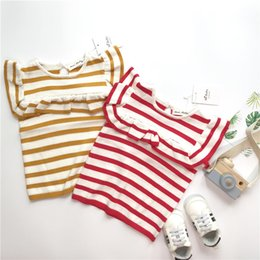 $enCountryForm.capitalKeyWord NZ - Children' T Shirt Girls Knitted T-shirt Baby Clothing Little Girl Summer Ruffles Shirt Tees Designer Cotton Striped Clothes 1-6Y