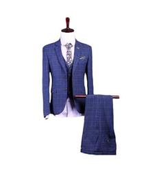 Discount fitted piece dresses - 2019 New Plaid Groom Tuxedos Blue Suit Slim Fit Men Suits 3 Pieces(Jacket+Pants+Vest) Wedding Suits Men Blazer Business