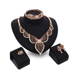Sets Leaves Gold Australia - Jewelry Set Necklace Earrings Bangle Ring 18K Gold Plated Hollow Out Leaves 4-piece Set Fashion Women Wedding Jewelry Sets Wholesale JS089