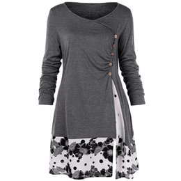 long sleeve tunic tee NZ - Wipalo Plus Size 5xl Draped Floral Long Tunic Shirts Long Sleeve O-neck Buttons Embellished Women Blouse Spring Casual Tops Tee Y190427