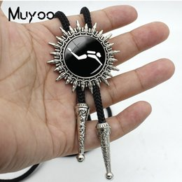 sports neckties Canada - New Arrival Fashion Sports Style Diving Logo Black Background Round Dome Bolo Tie For Women Silver Neckties Metal Tie BOLO-00104