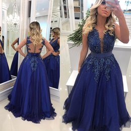 Sexy Apple Australia - 2019 Newest Royal Blue Evening Dresses Sheer Neck Lace Appliqued Beaded Pearls Tulle Prom Dress Sexy Illusion Back