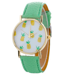 $enCountryForm.capitalKeyWord UK - OTOKY Stylish Pineapple Printing Leather Bracelet Lady Womans Wrist Watch Bracelet Special Gift YY04