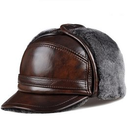 bomber hats Australia - RY0201 Male Winter Warm Ear Protection Bomber Hat Man Genuine Leather Faux Fur Inside Black Brown Ultra Large Size 55-63cm Caps D19011503