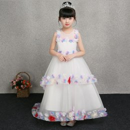chiffon christmas evening dresses 2021 - 2020 Princess White Lace Flower Girl Dress Vestidos Long Trailing Kids Evening Ball Gown Party Pageant Dresses First Com